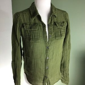 We the Free | Olive Green Crinkle Cotton Shirt